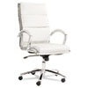 Alera Neratoli Series High-Back Swivel/Tilt Chair, White Faux Leather, Chrome