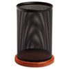 Rolodex Distinctions Jumbo Metal and Wood Pencil Cup, 4 1/2 dia. x 6 1/2, Black/Cherry