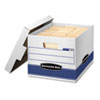 Quick/Stor Storage Box, Letter/Legal, Locking Lid, White/Blue, 12/Carton