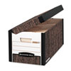 FastFold Flip Top File Storage Box, Letter, 12-1/8 x 24 x 10, Woodgrain, 12/Ctn