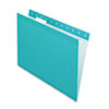 Pendaflex Reinforced Hanging Folders, 1/5 Tab, Letter, Aqua, 25/Box