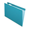 Reinforced Hanging Folders, 1/5 Tab, Legal, Teal, 25/Box