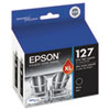 Epson T127120D2 (127) DURABrite Ultra Extra High-Yield Ink, Black, 2/PK
