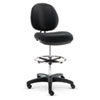 Alera Interval Series Swivel Task Stool, PVC-Free Faux Leather, Black