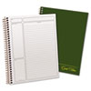 Ampad Gold Fibre Wirebound Writing Pad w/Cover, 9-1/2 x 7-1/4, White, Green Cover