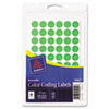 Avery 05052 Removable Self-Adhesive Color-Coding Labels, 1/2in dia, Neon Green, 840/Pack AVE05052 AVE 05052