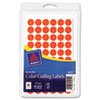 Avery Removable Self-Adhesive Color-Coding Labels, 1/2in dia, Neon Red, 840/Pack