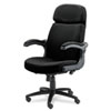 Big & Tall Executive Pivot-Arm Chair, Acrylic/Poly Blend Fabric, Black