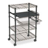 Mayline Multipurpose Wire Cart, Five-Shelf, One-Basket, 23-1/2w x 15d x 37-1/2h, Black