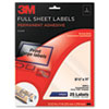 Permanent Adhesive Clear Inkjet Mailing Labels, 8-1/2 x 11, 25/Pack
