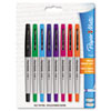 Flair Porous Point Stick Liquid Pen, Assorted Ink, Ultra Fine, 8/St