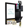 "MasterVision Combo Dry Erase and Cork Station w/Storage, 16"" x 16"", Black Frame"