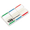 Post-it Tabs Durable File Tabs, 1 x 1 1/2, Striped, Blue/Green/Red, 66/Pack