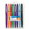 Paper Mate Point Guard Flair Porous Point Stick Pen, Assorted Ink, Medium, 8/Set