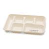 NatureHouse Sugarcane-Fiber Food Trays, 6-Comp, White, 125/Pack, 2 Packs/Carton