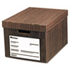 Heavy-Duty Storage Box, Letter/Legal, Fiberboard, Woodgrain, 12/Carton