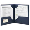 Smead Lockit Two-Pocket Folder, Leatherette Stock, 11 x 8-1/2, Dark Blue, 25/Box
