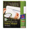 100% Recycled Index Maker Dividers, White 8-Tab, 11 x 8-1/2, 5 Sets/Pack