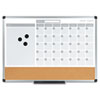 MasterVision 3-in-1 Planner, 24X18, Dry Erase/Calendar/Cork, Alum. Frame