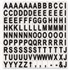 Interchangeable Magnetic Characters, Letters, Black, 3/4&quot;h