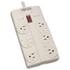 Tripp Lite TLP808 Surge Suppressor, 8 Outlets, 8 ft Cord, 1440 Joules, Light Gray