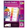 Ready Index Contemporary Contents Divider, 1-5, Multicolor, Letter, 6 Sets