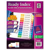 Avery Ready Index Contemporary Table of Contents Divider, Jan-Dec, Multi, Letter