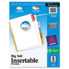 Avery WorkSaver Big Tab Dividers, Multicolor Tabs, 5-Tab, Letter, White, 1/Set