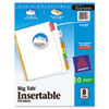 Avery WorkSaver Big Tab Dividers, Multicolor Tabs, 8-Tab, Letter, White, 1 Set