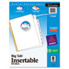 Avery WorkSaver Big Tab Dividers, Clear Tabs, 8-Tab, Letter, White, 1/Set