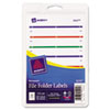 Avery Print or Write File Folder Labels, 11/16 x 3-7/16, White/Assorted Bars, 252/Pack