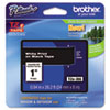 Brother P-Touch TZe Standard Adhesive Laminated Labeling Tape, 1w, White on Black