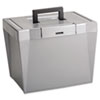 Portable File Storage Box, Letter, Plastic, 13 1/2 x 10 1/4 x 10 7/8, Steel Gray