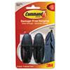Command Designer Hooks, Plastic, Black, 2 Hooks & 4 Strips/Pack