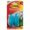 Command Designer Hooks, Plastic, Vintage Teal, 2 Hooks & 4 Strips/Pack