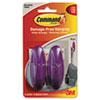 Command Designer Hooks, Plastic, Plum, 2 Hooks & 4 Strips/Pack