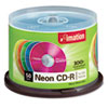imation CD-R Discs, 700MB/80min, 40x, Spindle, Assorted Neon, 50/Pack