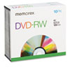 Memorex DVD-RW Discs, 4.7GB, 4x, w/Slim Jewel Cases, Silver, 10/Pack