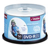 Thermal Printable DVD-R Discs, 4.7GB, 16x, Spindle, White, 50/Pack