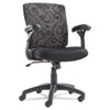 Mid-Back Swivel/Tilt Mesh Swirl Chair, White/Black
