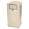 Plaza Indoor/Outdoor Waste Container, Rectangular, Plastic, 35 gal, Beige