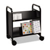 Steel Slant Shelf Double-Sided Book Cart/Stand, 28 x 18 x 33-1/4, Raven Black