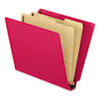 Pressboard End Tab Classification Folders, Letter. Six-Section, Red, 10/Box