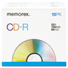Memorex CD-R Discs, 700MB/80min, 52x, w/Slim Jewel Cases, Silver, 10/Pack