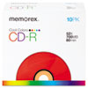Memorex CD-R Discs, 700MB/80min, 52x, Slim Jewel Cases, Cool Colors, 10/Pk