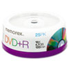Memorex DVD+R Discs, 4.7GB, 16x, Spindle, Silver, 25/Pack