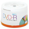 Memorex DVD-R Discs, 4.7GB, 16x, Spindle, Silver, 50/Pack
