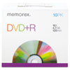 Memorex DVD+R Discs, 4.7GB, 16x, w/Slim Jewel Cases, Silver, 10/Pack