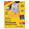 Permanent I.D. Labels, 1 2/3&quot; dia., Clear, 500/Pack