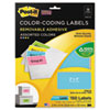 Removable Color-Coding Labels, 2 x 4, Assorted Neon, 150/Pack